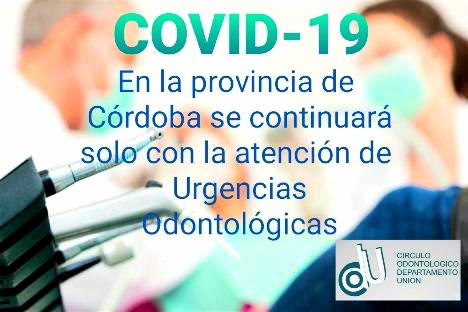 El CODU adhiere las medidas sugeridas por Colegio Odontológico de la Provincia de Córdoba
